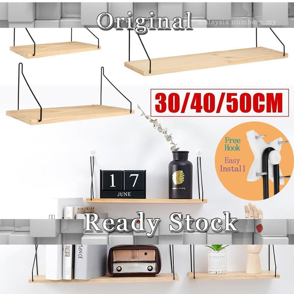 Ikea Wooden Wall Shelf Board Bedroom Wall Hanging Storage Rack Wall Decoration Shopee Malaysia