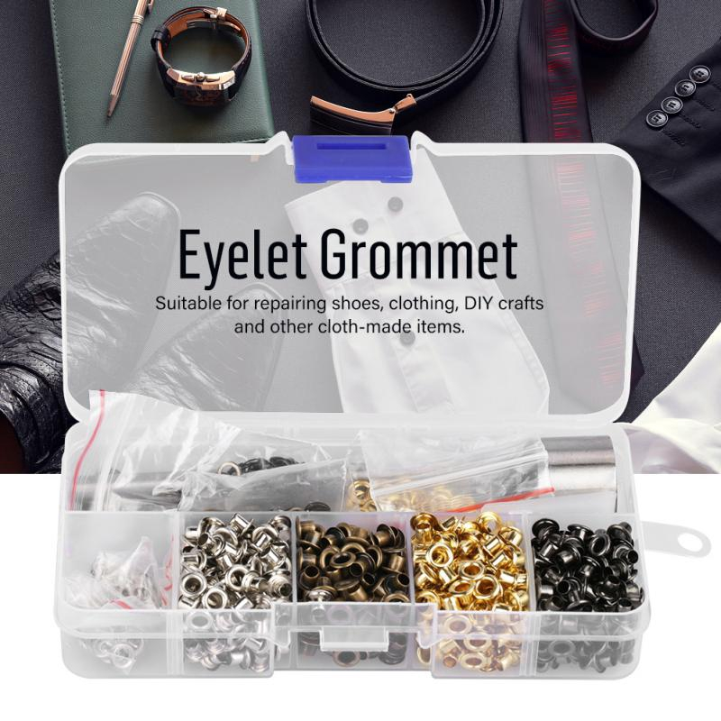 100 Eyelets Grommets w//Ring Die Punch Leather Craft Tools with Storage Box
