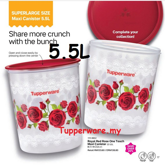 [New 5.5L]Tupperware Royal Red Rose One Touch Maxi Canister 5.5L