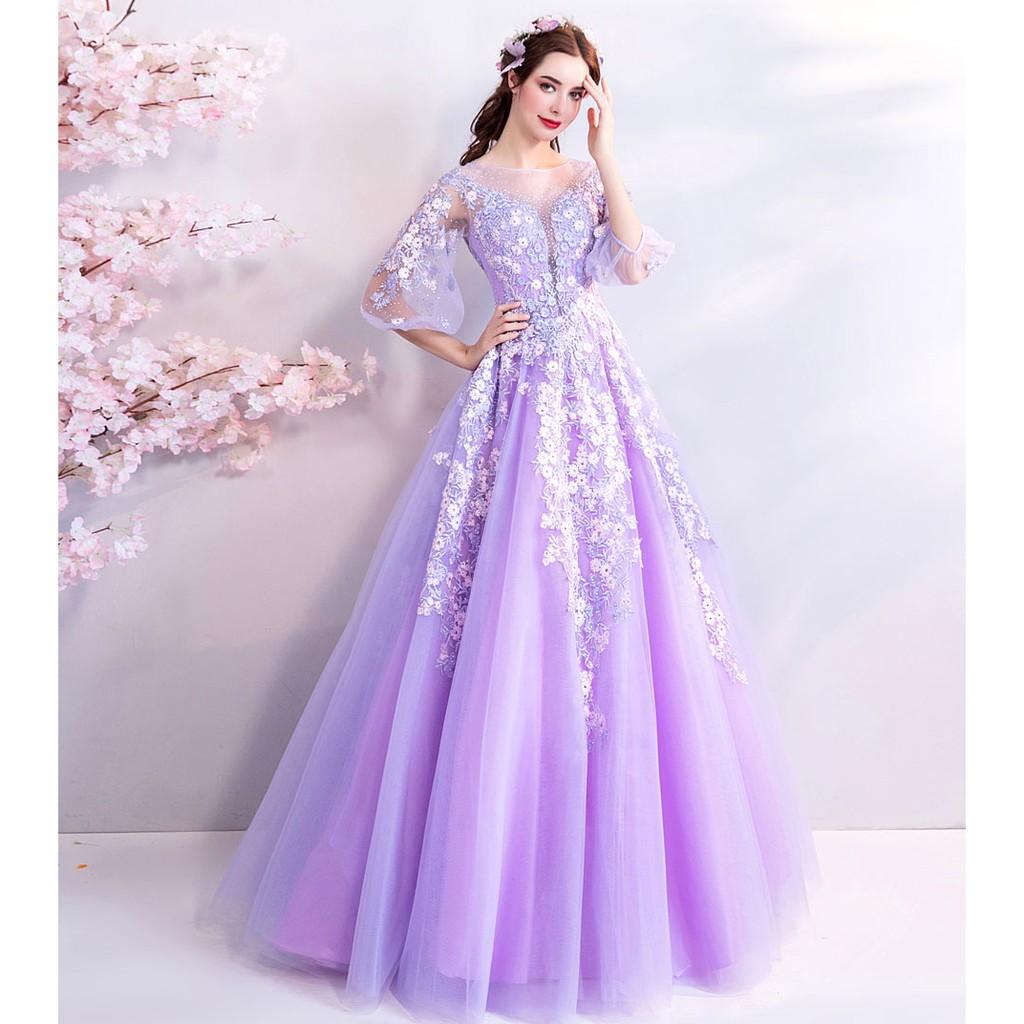 BEAUNIQUE Princess Lavander Soft Purple Garden Theme Malay Wedding Half  Sleeve Baju Pengantin Beautiful Bride Bridal