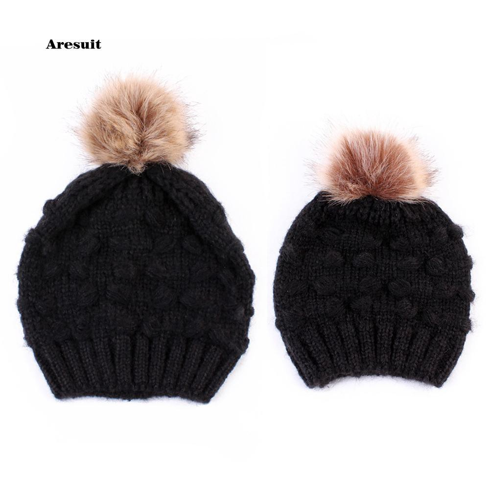 99c231a95 Are-Warm Knitted Beanie Hat Elastic Adult Child Kid Matching Pompom Winter  Cap