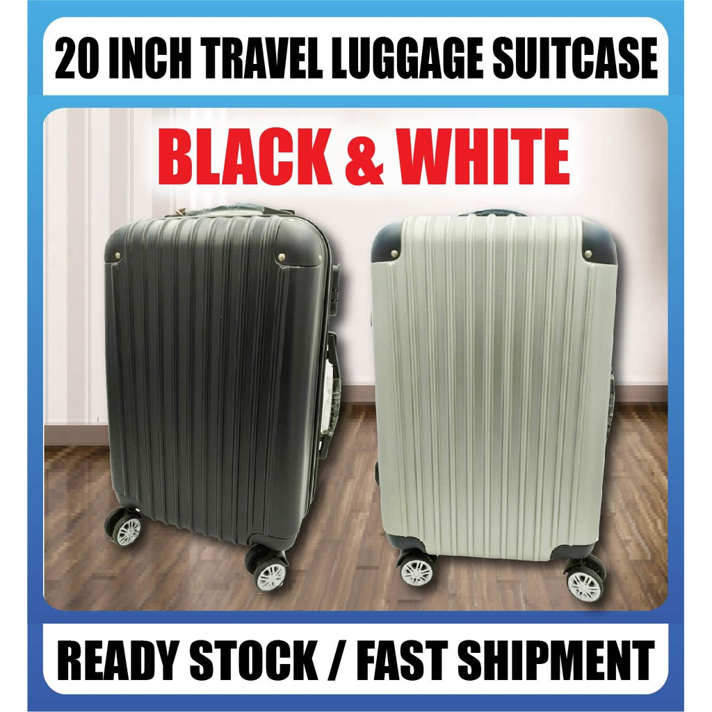 READY STOCK] Advanced 20-inch Travel Luggage Suitcase Silent Wheel 360 Rotation Smooth BLACK & WHITE