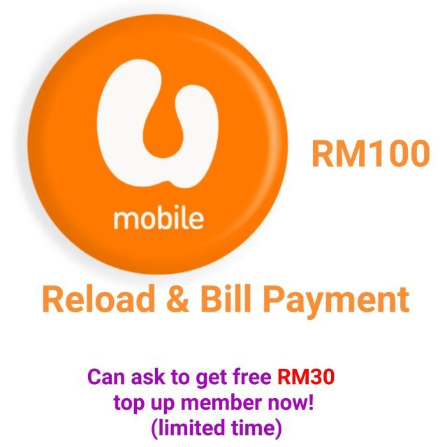 Umobile Prepaid Postpaid Reload/Top Up/Pay bill RM 100