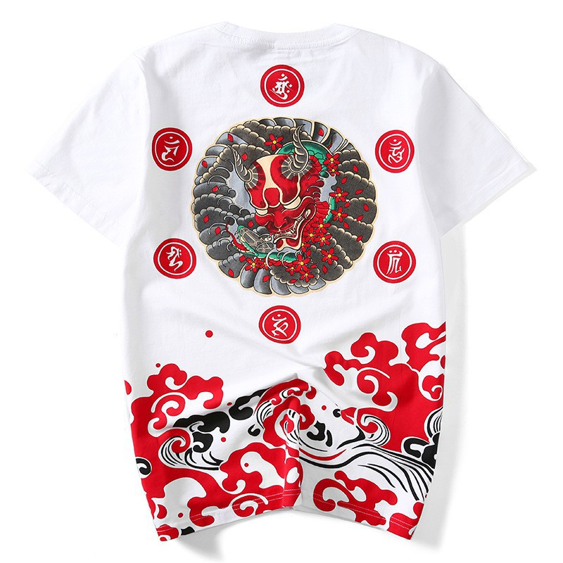 Men/'s T-shirt Short-sleeved Cotton Oversize Japanese Ukiyo-e Summer Loose Tops