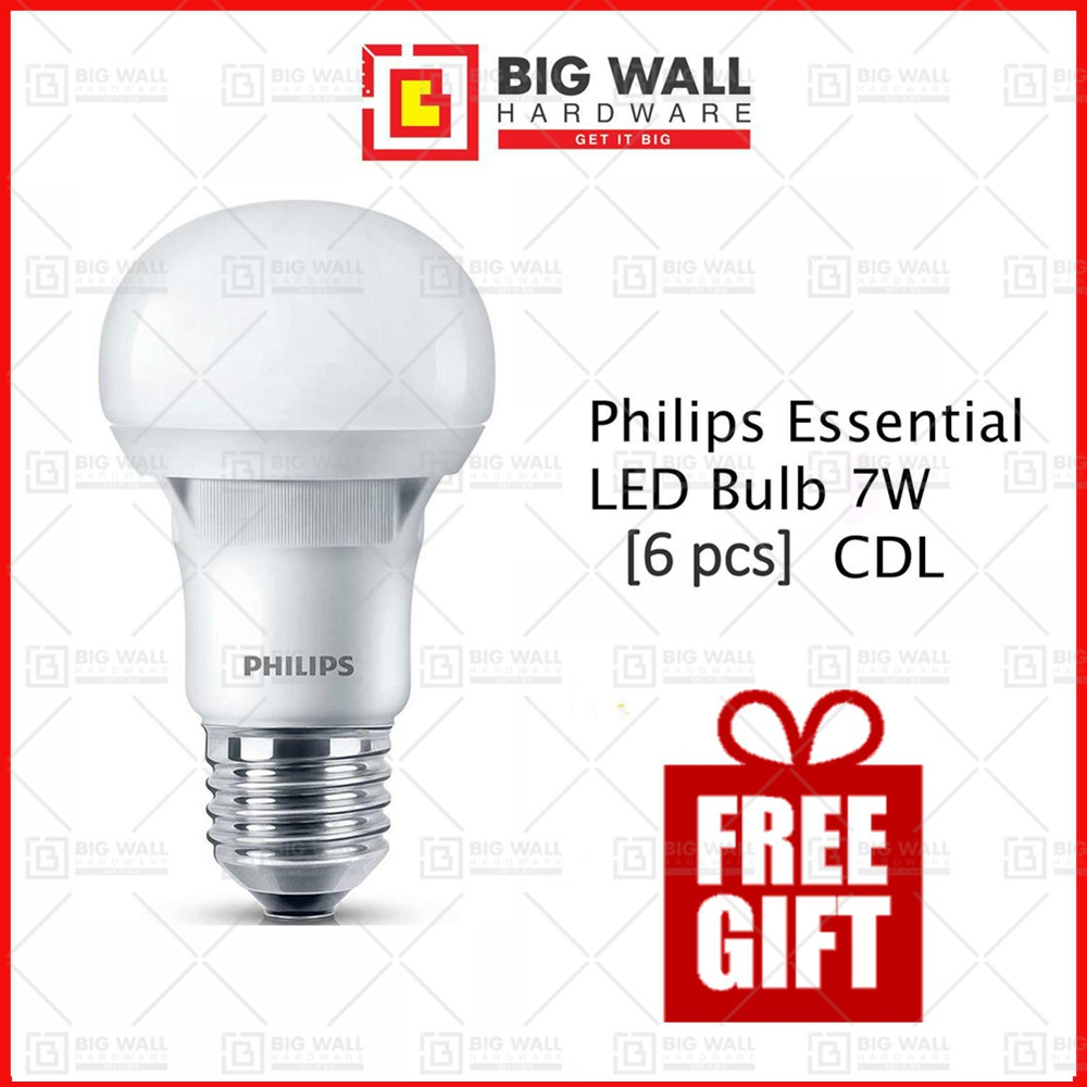 Philips Essential LED Bulb 7W E27 220-240V Cool Daylight [ 6 pcs (1 box) ]