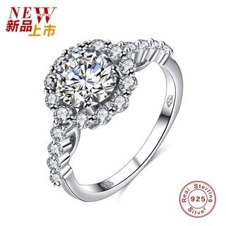 Plated 925 Silver Black Diamond Ring Fashion Atmosphere