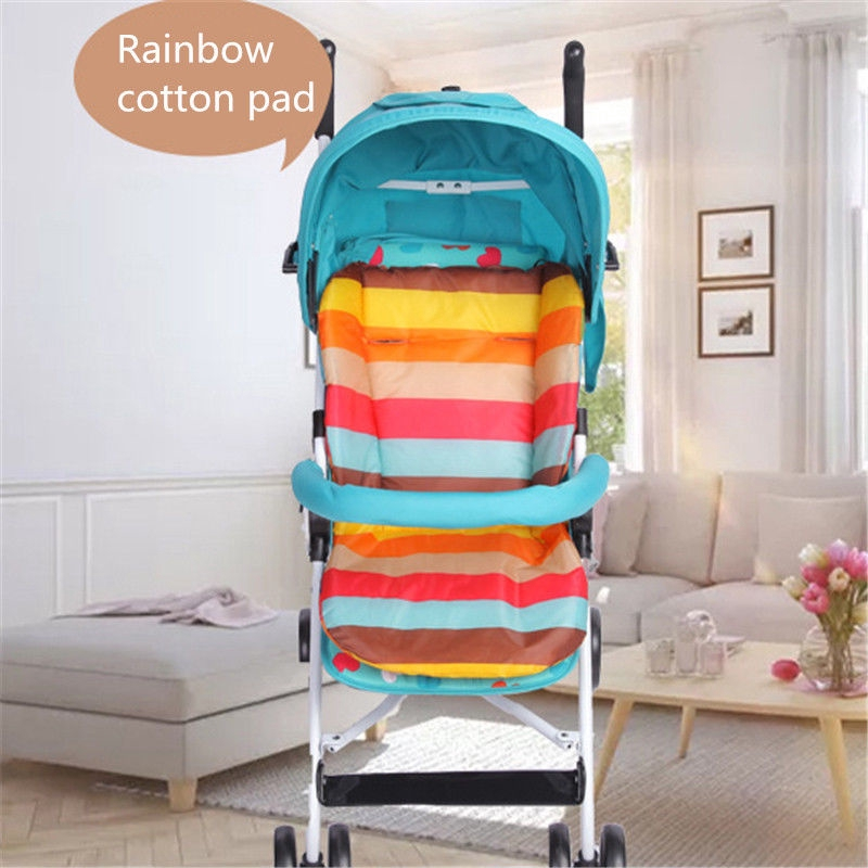 Baby Stroller Cushion Pushchair Rainbow Cotton Pad Soft Pram Highchair Seat Mat
