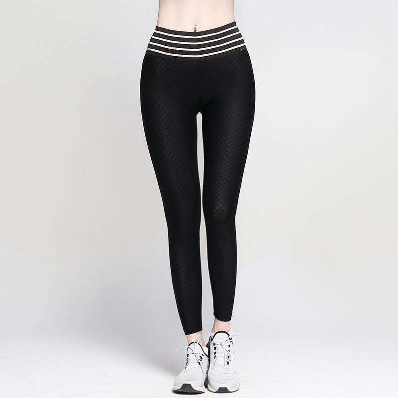 53855df0fc6 Fashion Women High Waist Yoga Pants Fitness Stitching Leggings Sports  Elastic Breathable Push Up Hip Running Pant