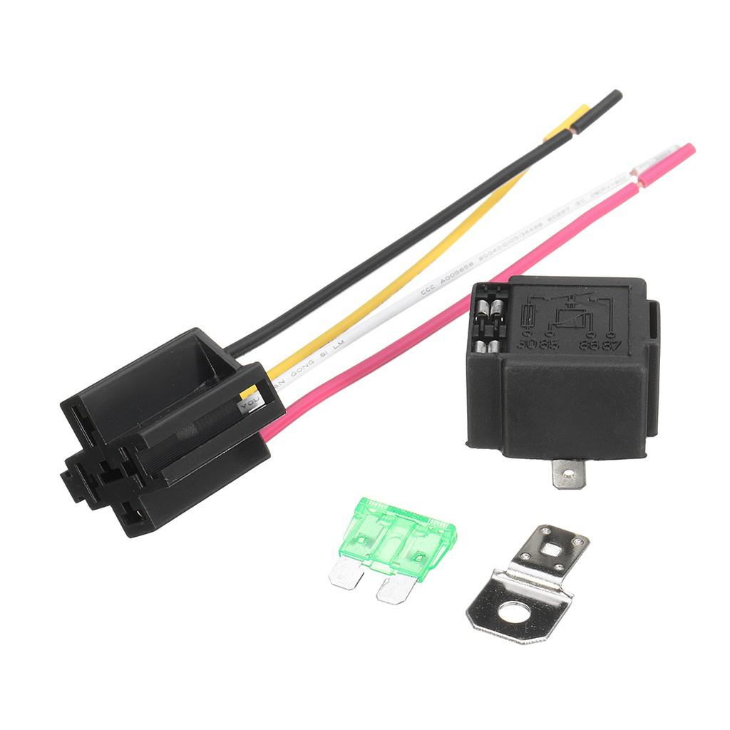 12v 30a Car Motor Heavy Duty 4 Pin Spst Relay  U0026 Fuse Plug
