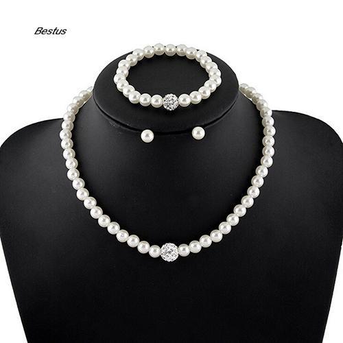 e0378876d ProductImage. ProductImage. BTS_Women's Bride Wedding Jewelry Set Crystal  Faux Pearl Necklace Bracelet Earrings