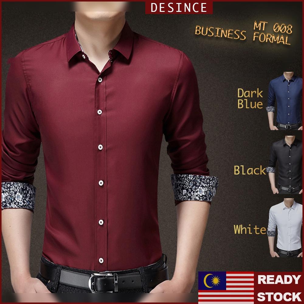 🇲🇾READY STOCK😎 Men Business Shirt Office Formal Smart Long Sleeve Men Clothing Kemeja Suit MT 008