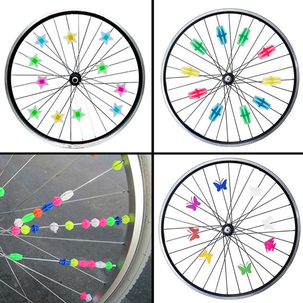 Bicycle Bike Wheel Plastic Spoke Bead Children Kids Clip Colored Decoration 36pc