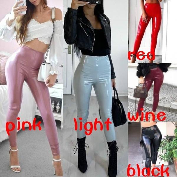 Womens Vinyl PVC Leather Wet Look Elasticated High Waist Skinny Trouser Leggings