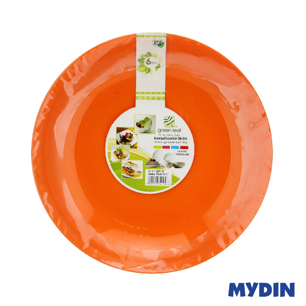 "Green Leaf Deep Plate 8.5"" 6s G-11108P - Orange"