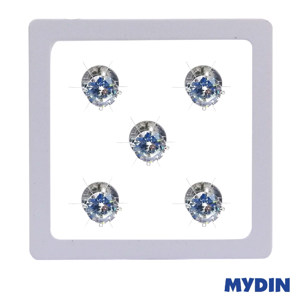 Armaan Silver Button with Zircon (5 Pcs x 8mm) SATCDW-15