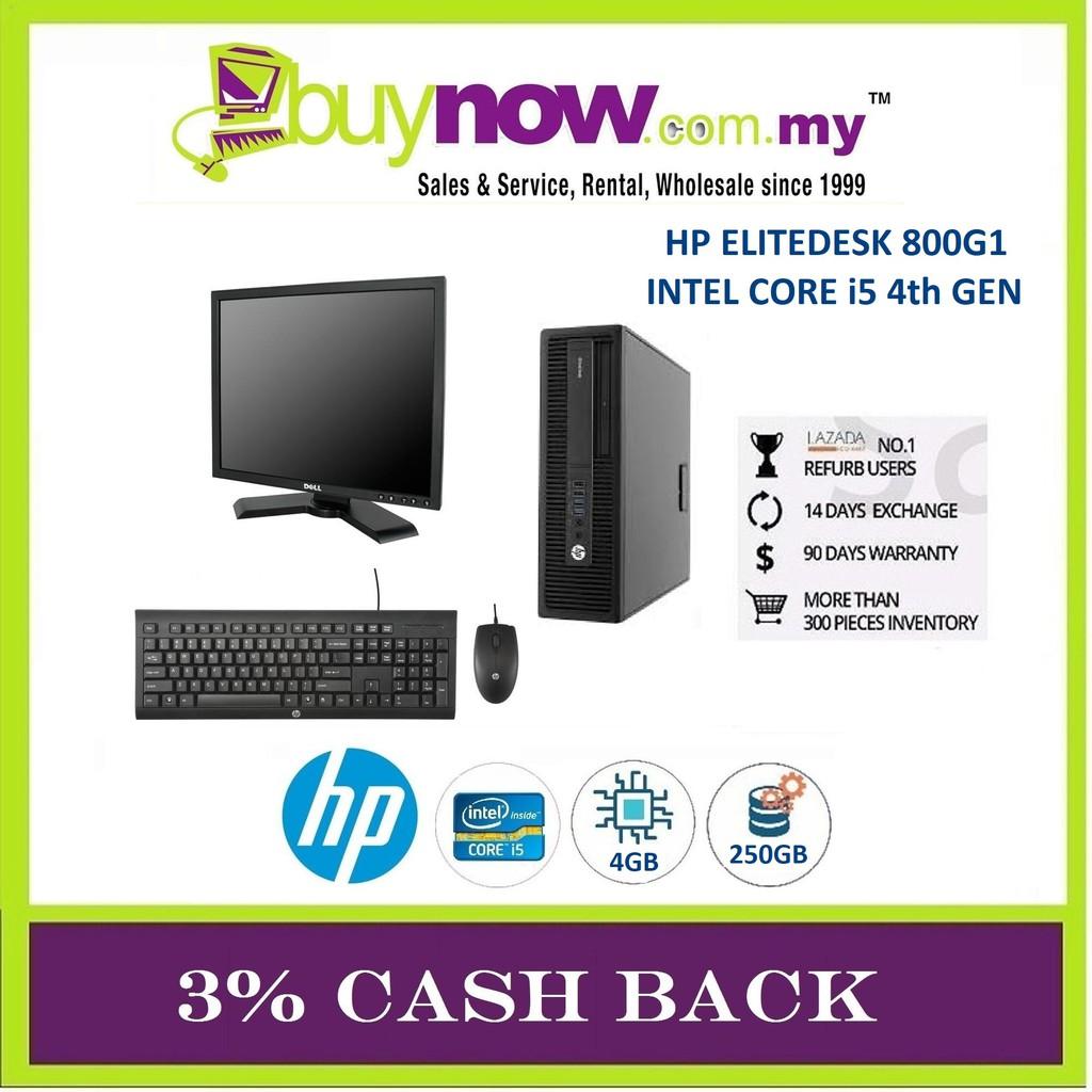 REFURBISHED DESKTOP HP ELITEDESK 800G1 i5/4GB/250GB/WIN 8 + BRANDED 19