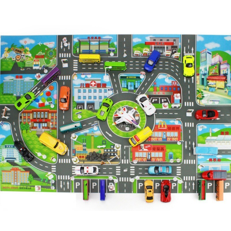 Car Toys 10 Cars + 1 Map City Parking Map Road Toy Model Car Climbing Pad