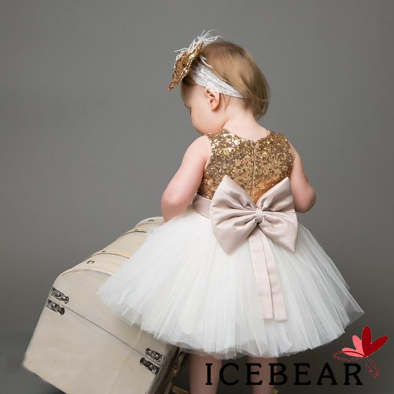 119a14bc1b ❤OO❤Princess Baby Flower Girls Sequins Bowknot Party Gown Formal Dress