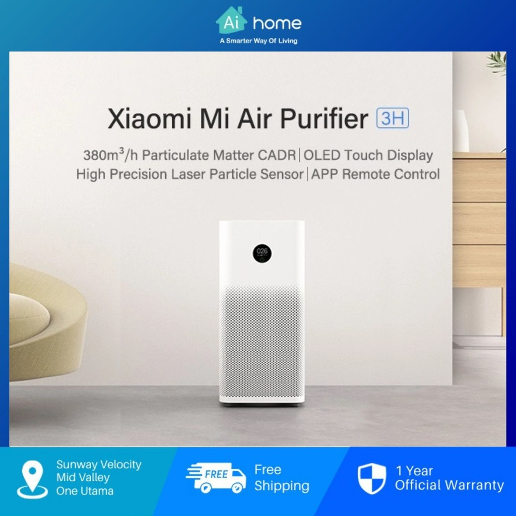 Xiaomi Mi Air Purifier 3H - True HEPA Filters   380m3/h PM CADR   Smart Control by App   OLED Display [ Aihome ]