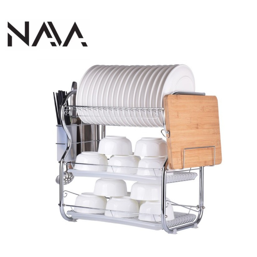 3 Layer Steel Dish Rack with Knife & Cutting Board Compartments - B-Shape/8-Shape