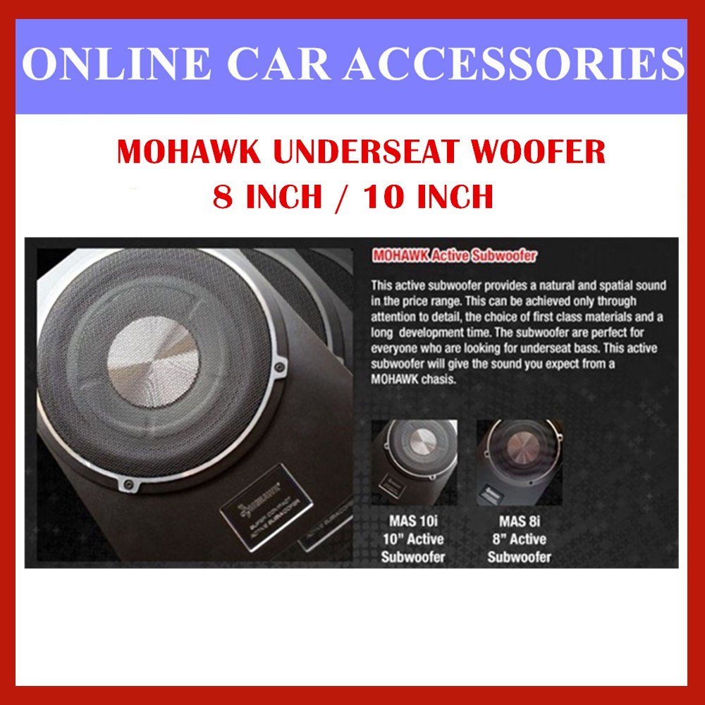 Mohawk Mas 8 / Mas 10 Silver 8 inch /10 inch Active Subwoofer Underseat