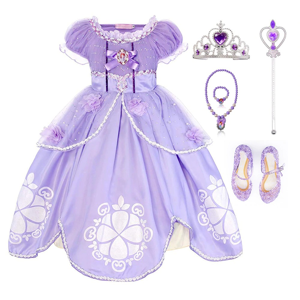 19418147c09d4 FREE SHIP ! TEAEGG Girl Dress Kids Ruffles Lace Party Custome Dress Sofia  the First Deluxe Costume