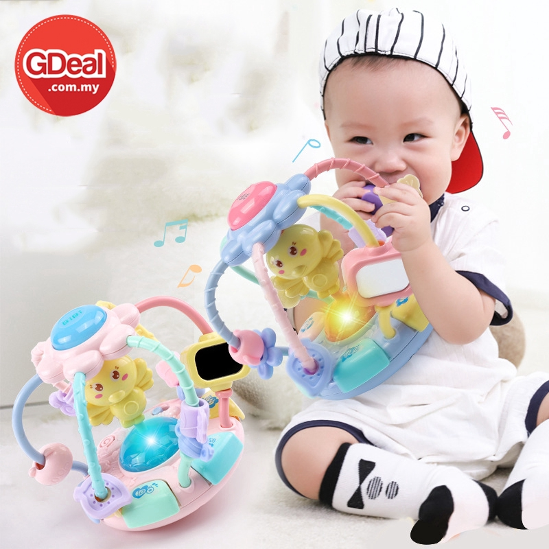 GDealBaby Music Little Chicken Teether Hand Catching Ball Roly-Poly Toy With Colourful Light Baby Safefy Bite