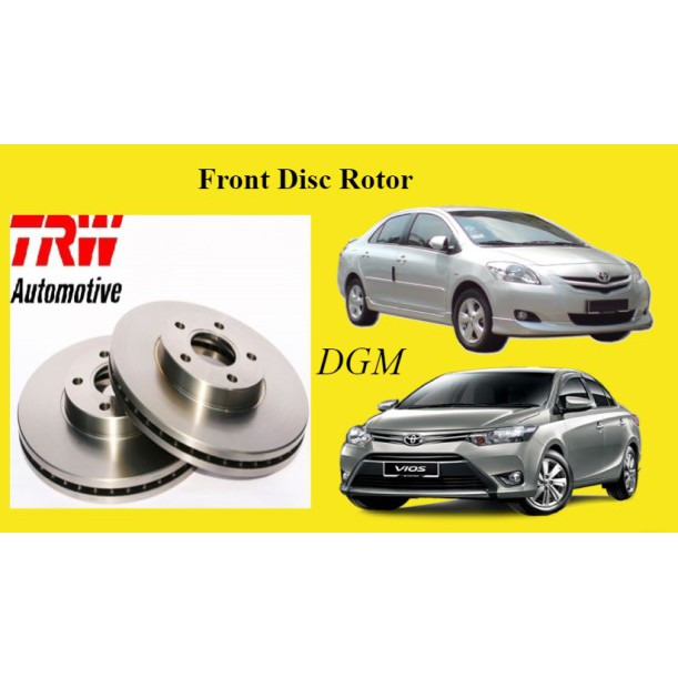 TRW Toyota Vios NCP93 NCP150 NSP151 2008-2017Y G/S Spec Front Disc Rotor 1Pair 2Pcs (Rear Use DIsc)
