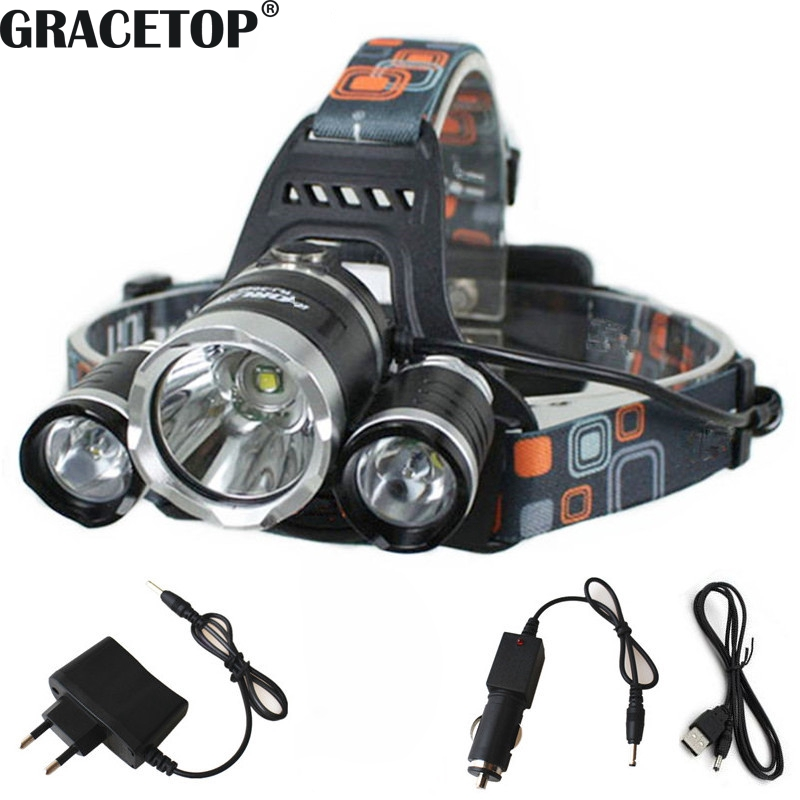 Tactical Flashlight 50000LM Zoomable T6 LED Headlight Headlamp Torch Charger ♢