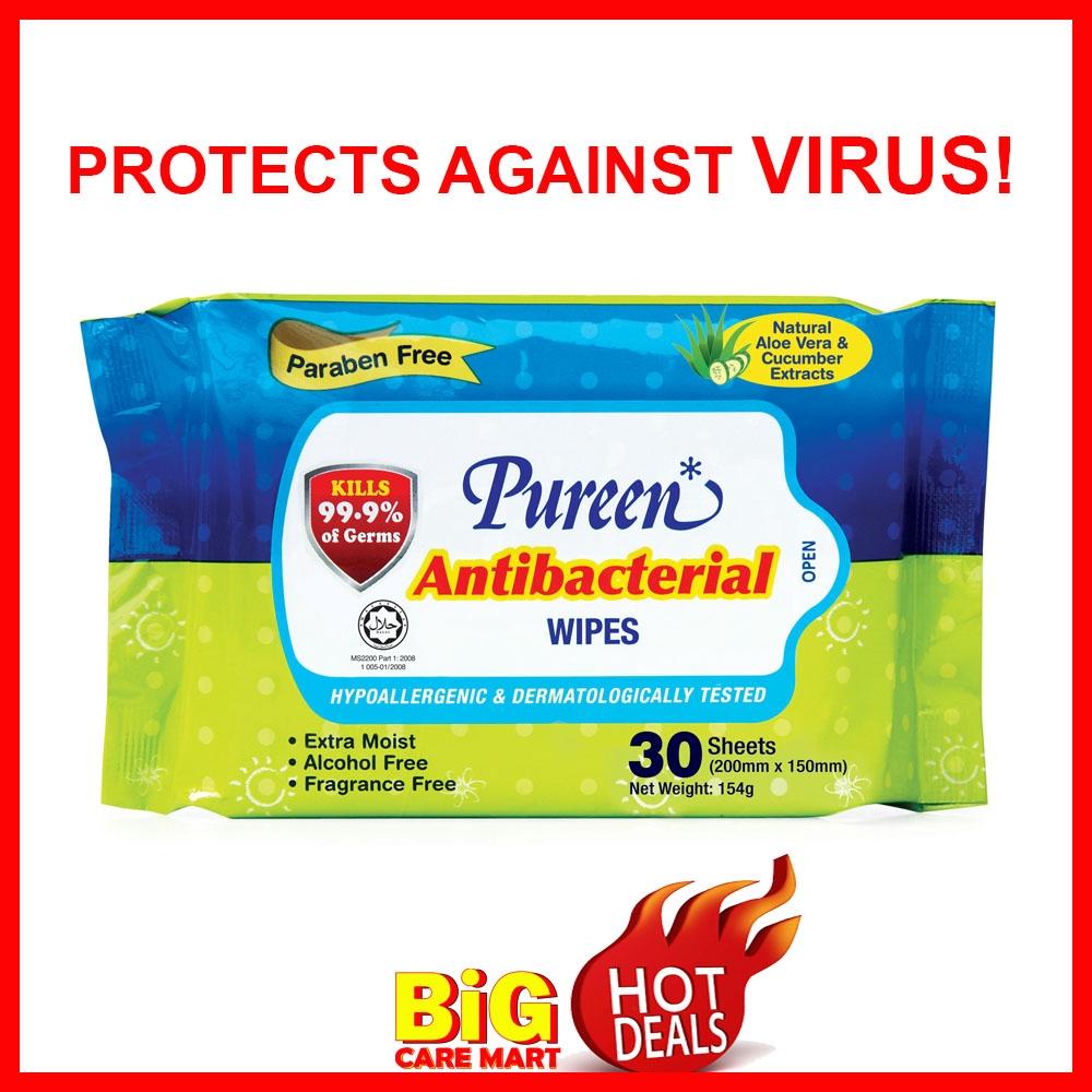 Pureen Antibacterial Wipes Sanitizer 30pc [Kills 99% Germs] - KIDS & ADULT