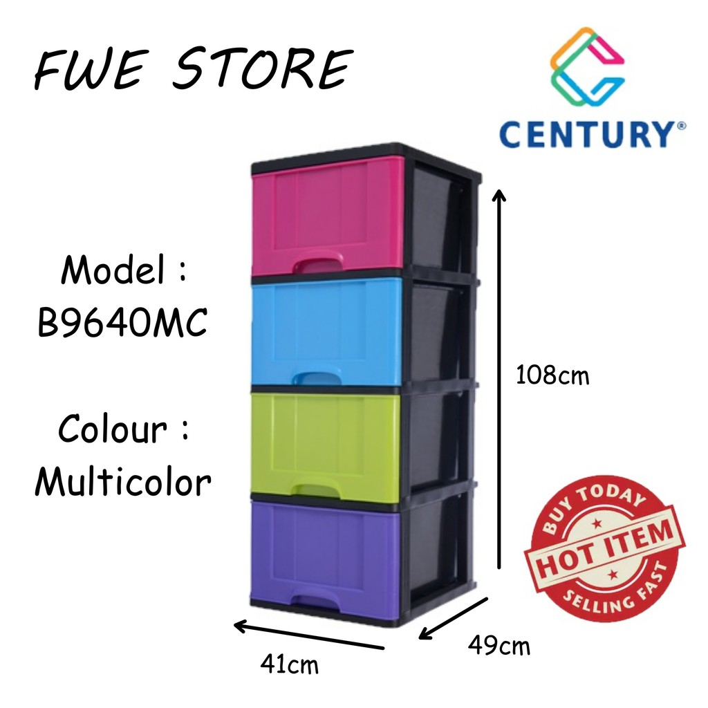 Century 4 Tier Plastic Drawer Cabinet, Plastic Drawer Cabinet Tesco