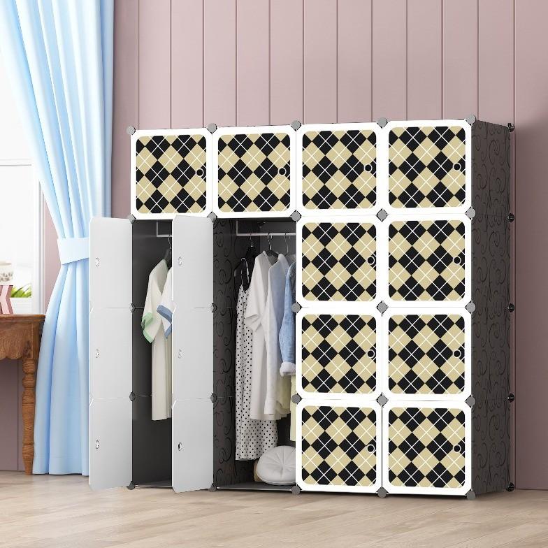 MALAYSIA: Checker 16 cube Black DIY Multipurpose Wardrobe Cabinet Clothes Storage Organizer Almari Rak
