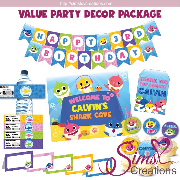 Pink Fong Baby Shark Party Printables Package Birthday Decoration Kit