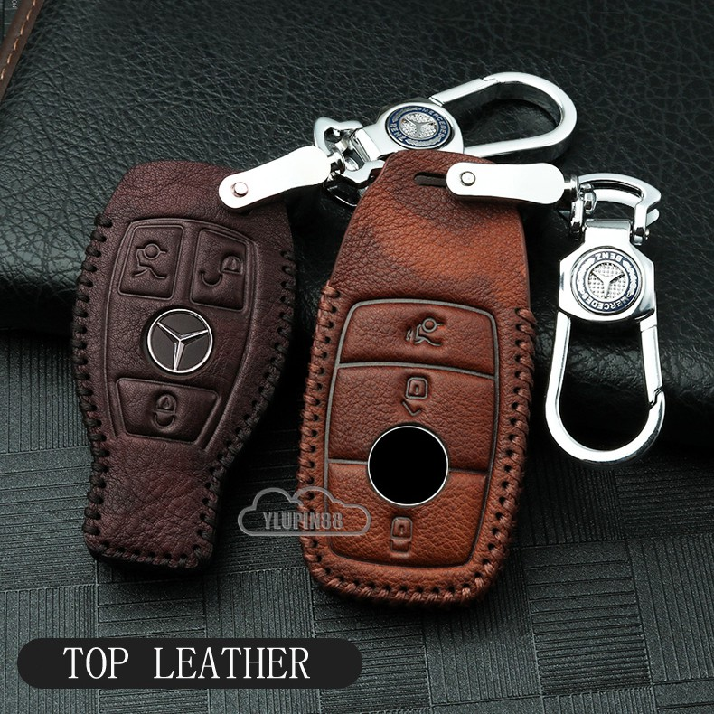 Genuine Leather Cover Car Key Fob Holder Case Skin Protector with Key Chain and Anti-lost Card Pendant