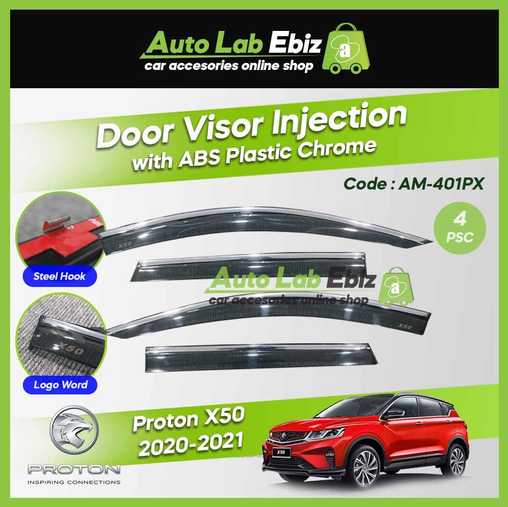 Proton X50 2020-2021 OEM Door Visor Injection with ABS Plastic Chrome Lining (4 pcs/set) AM-401PX