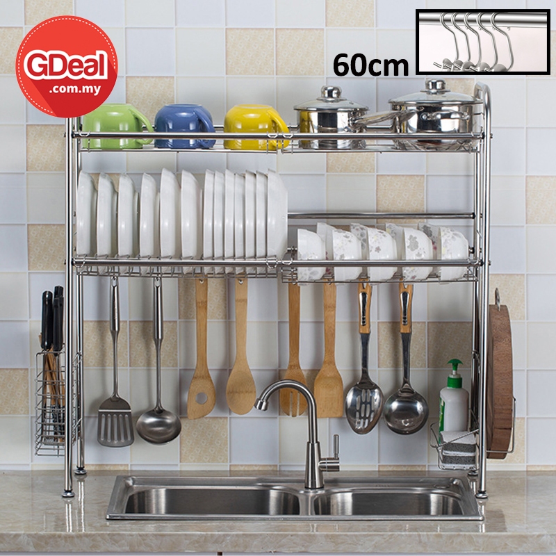 Gdeal 60cm Double Layer Dishware Storage Rack Kitchen Sink Drain Shelf Organizer Rak Basuhan Pinggan