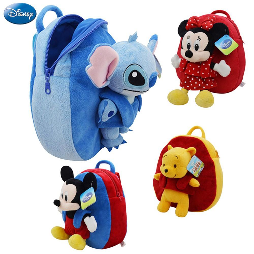 afa6a2f6e95 Backpack Winnie The Pooh Mickey Mouse Minnie Stitch Cute Girl Boy Schoolbag