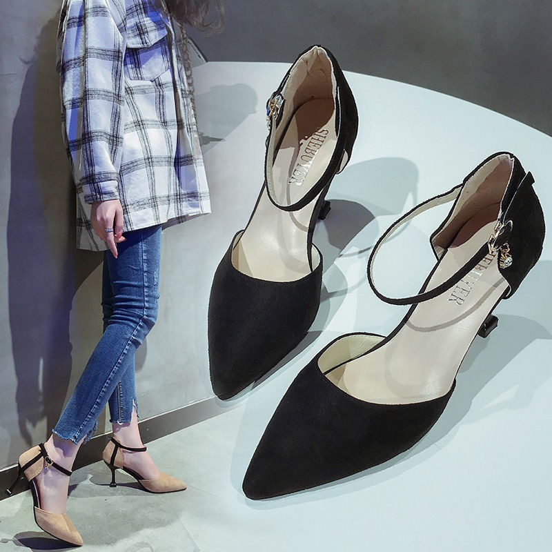 8c3debe6b71 2019 spring new pointed black high-heeled suede shallow mouth stiletto with  a word buckle with women's shoes hollow sho