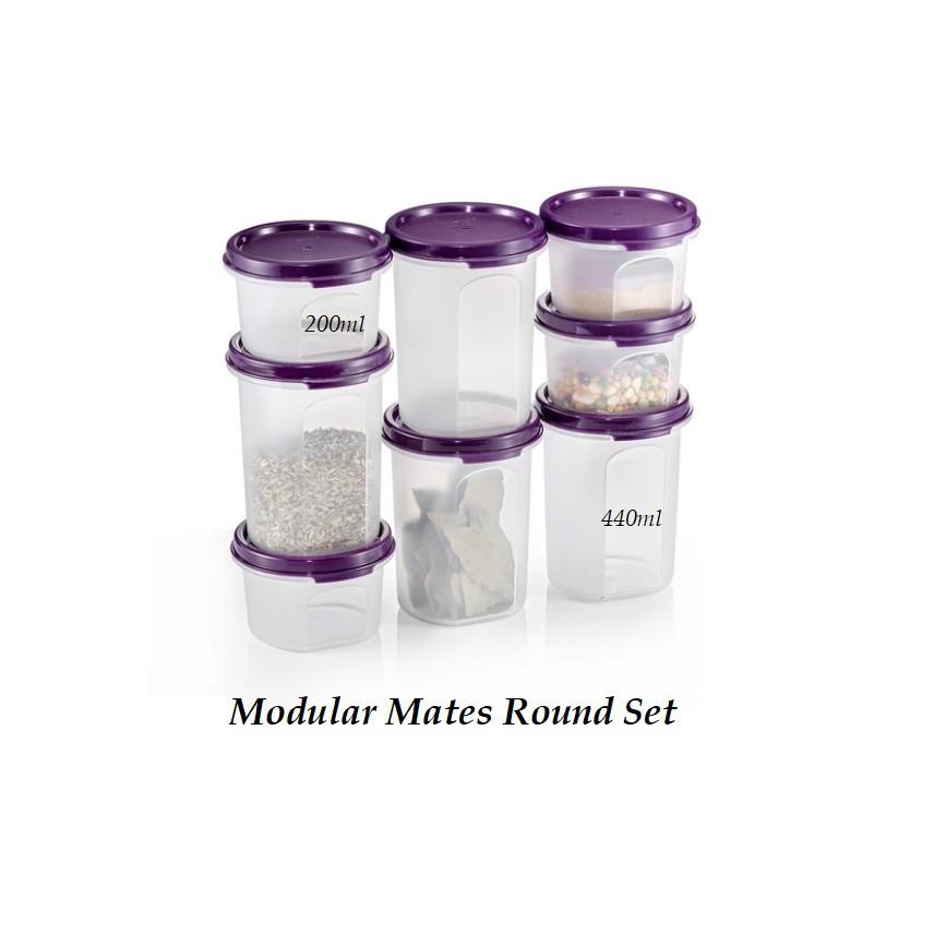 Tupperware Modular Mates Round Set (8pcs) Bekas Rempah BPA Free Plastic Food Storage Container