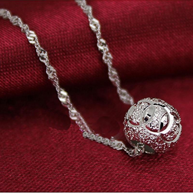 S925 Silver Simple Necklace White Gold Pendant Korean Women Fashion WHN5   Shopee Malaysia