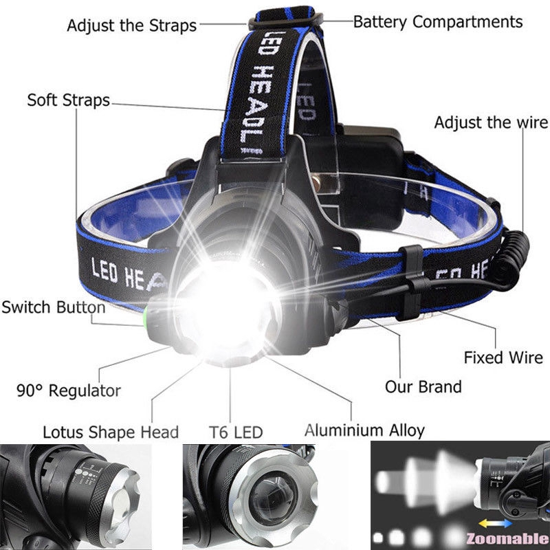 Zoom Headlamp T6 LED 90000LM Rechargeable Headlight Lamp Flashlight Head Torch!