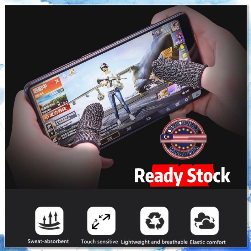 Mobile Game Finger Sleeve Breathable Non-Slip Touch Screen 2Pcs (READY STOCK)