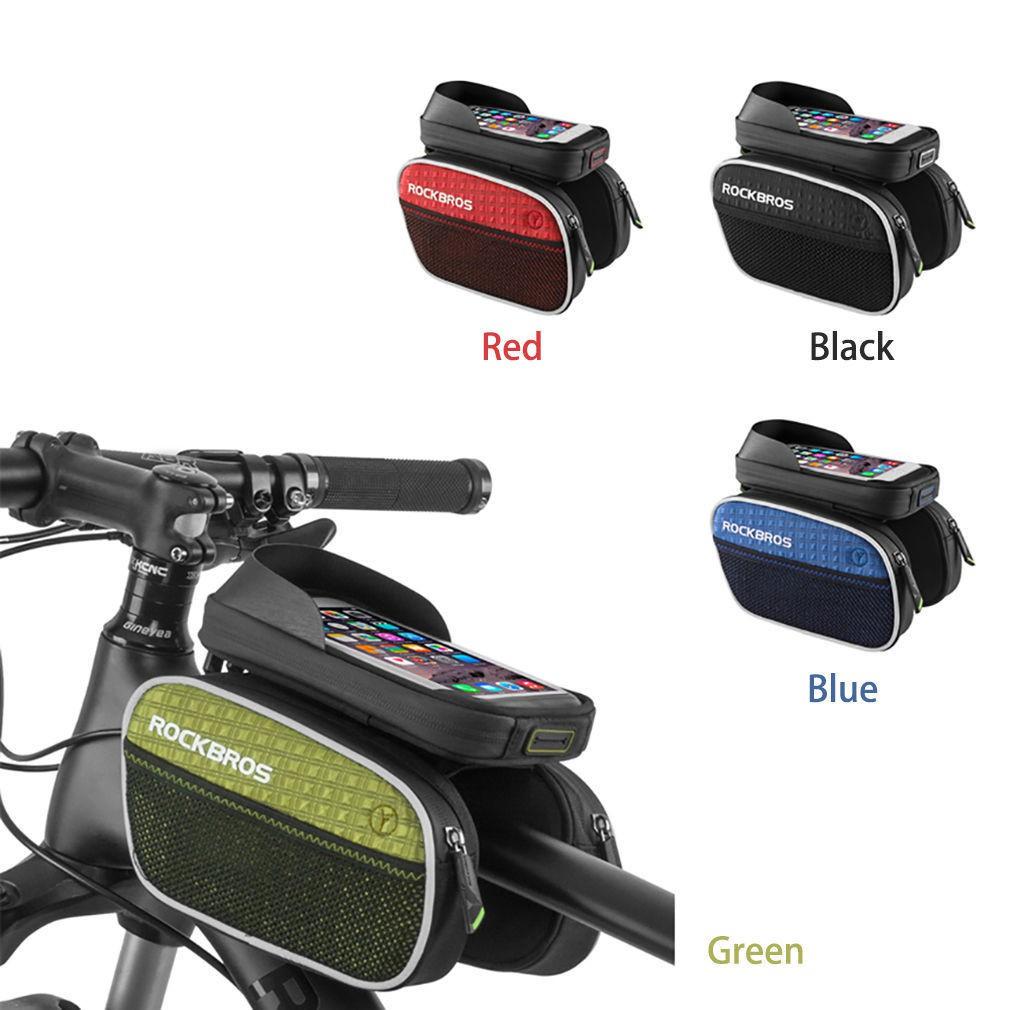 Rockbros Cycling Bike Front Tube Waterproof Reflective Black Pannier 010 4bk Mtb Handlebar Bag 6 Inch Phone Shopee Malaysia