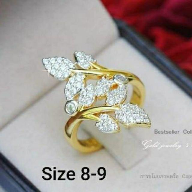 แหวนใบมะกอก นพเก้า ประดับเพชรสวิส มีขนาดให้