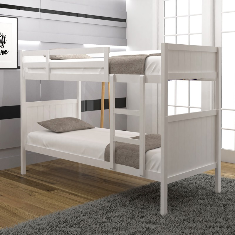 NELSON Solid Wood Double Decker Bunk Bed katil 2 in 1 katil kayu can be 2 single bed bunk bed white color ready stock