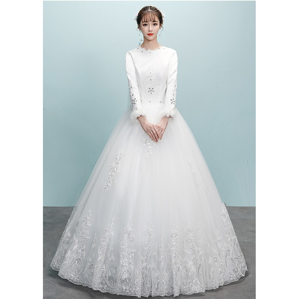 7f9c88cb605a BEAUNIQUE Snow White Winter Beaded Crystal Satin Long Sleeve Baju Pengantin  Gown | Shopee Malaysia
