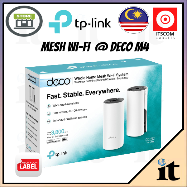 TP-Link  Deco M4 (2-Pack) - AC1200 Whole Home Mesh Wifi System - Support Unifi