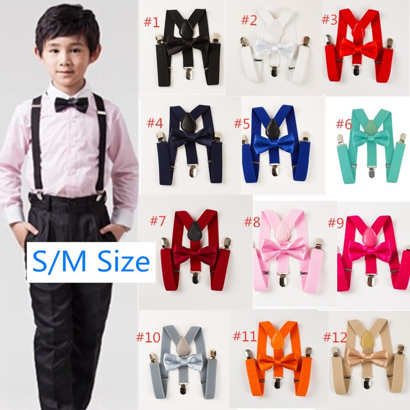 Bow Tie Matching Set Wedding Toddler Kids Boys Girls Baby Multicolor Suspender