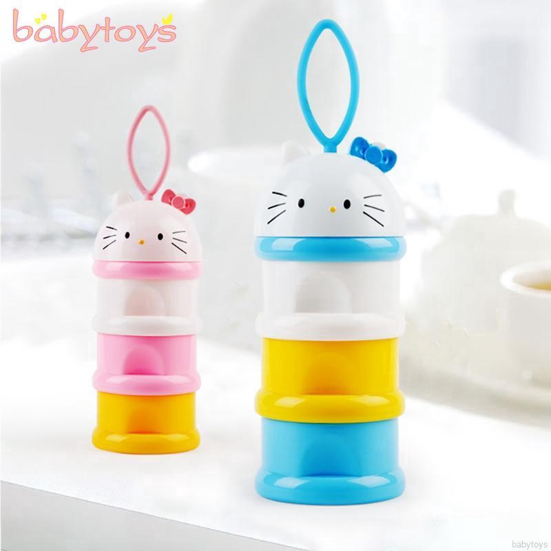 733eec5537ce Portable 3 Layers Baby Cartoon KItty Milk Powder Box Dispenser Container  Storage