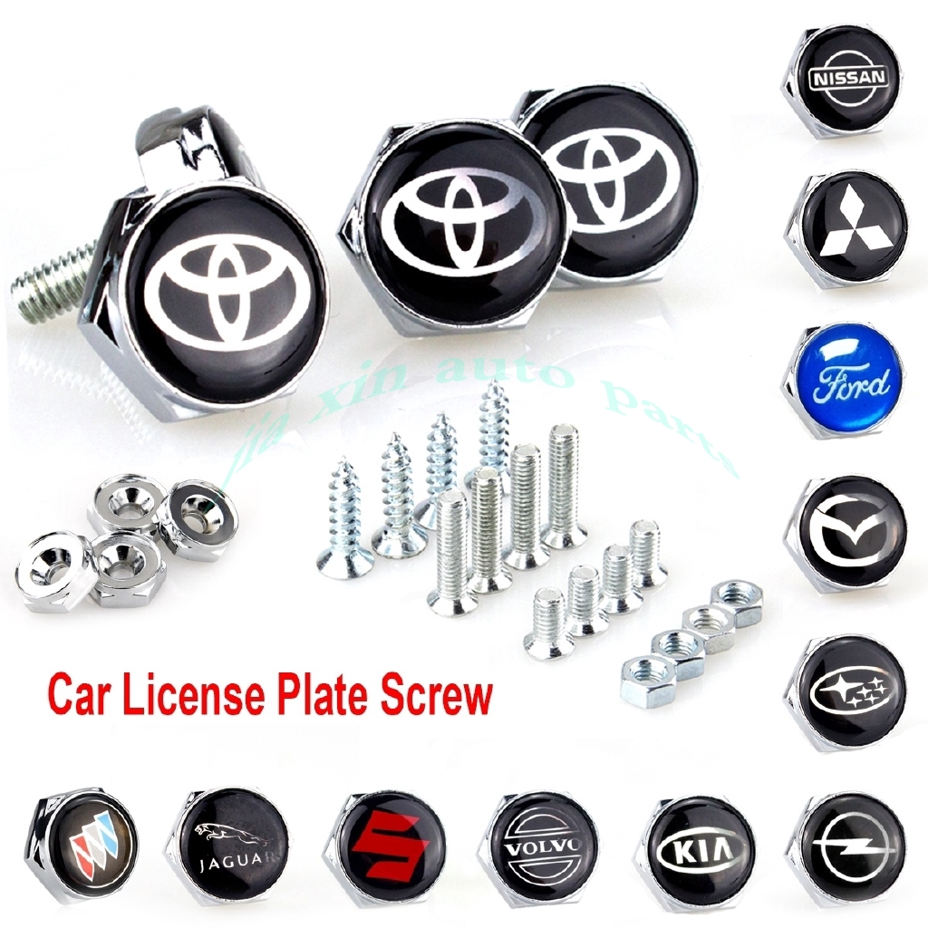4PC Volkswagen VW Car License Plate Frame Security Black Screw Bolt Caps Covers